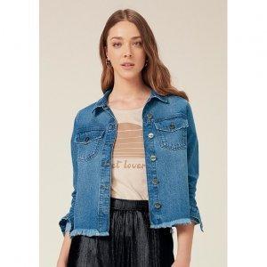 Jaqueta Jeans Barra Destroyed