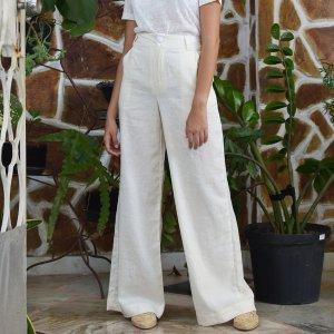 Pantalona Linho Off White - M Branco