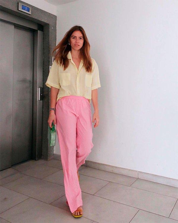 Trine Kjaer - camisa-amarela - colorblocking - verão - street-style