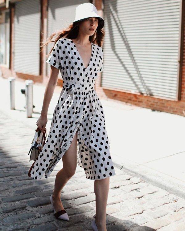 Natalie Lim Suarez - vestido-poa - poa - verão - street-style