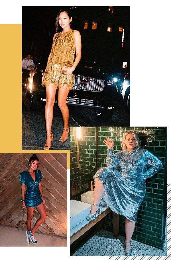 Aimee Song, Felicity Hayward, Julie Sarinana - vestido - paete - verão - street-style