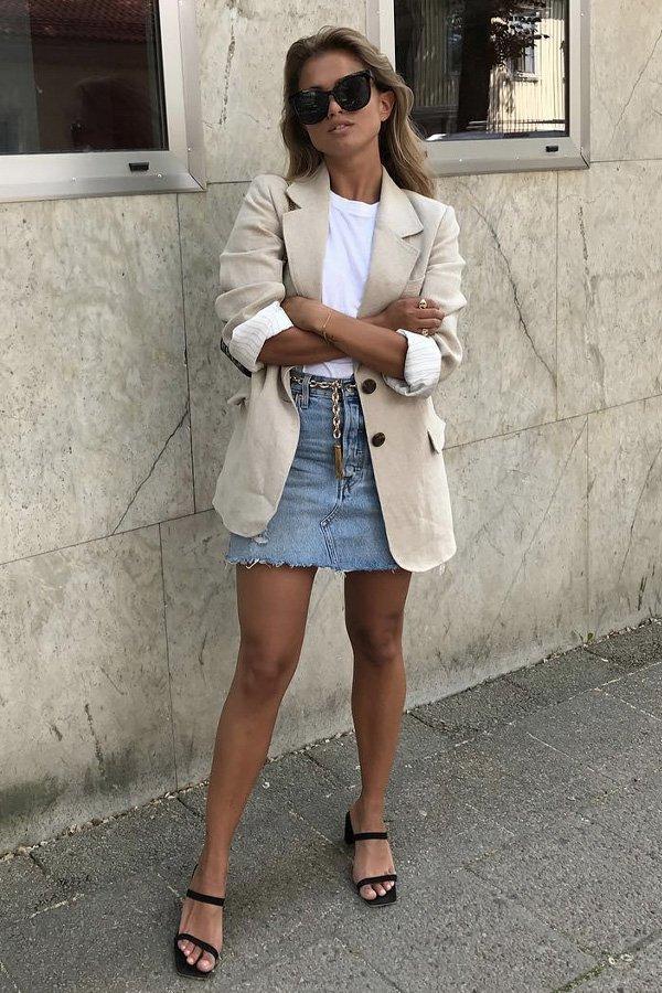 Matilda Djerf - saia jeans - saia jeans - verão - street style