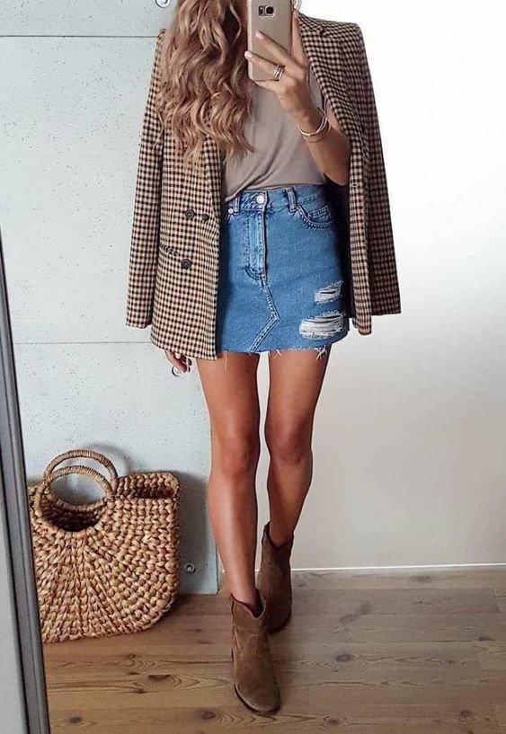 It girl - Saia jeans + Blazer - Saia jeans + Blazer - Verão - Street Style