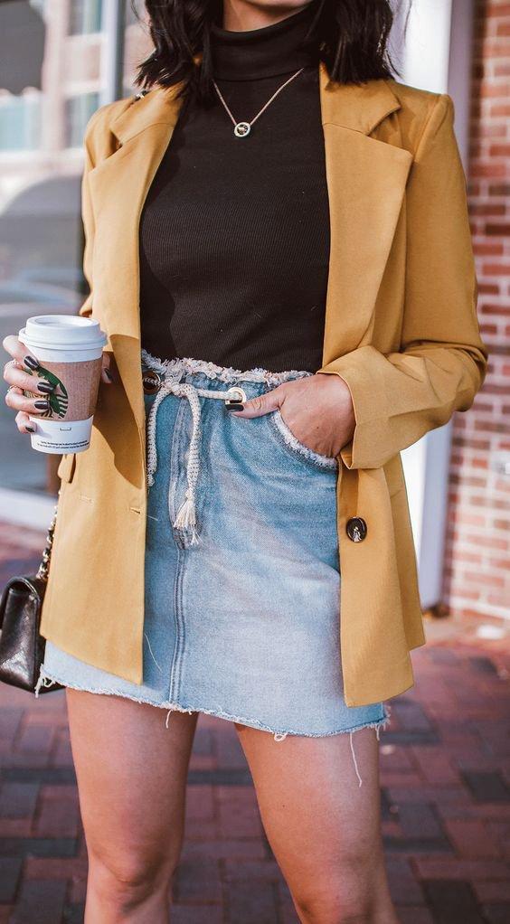 It girls - Saia jeans + Blazer - Saia jeans + Blazer - Verão - Street Style