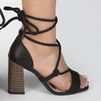 Sandália Dakota  Salto Bloco Amarrações Preta