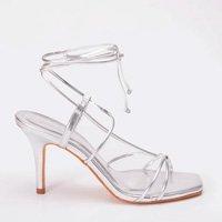 Sandália Tiras Metalizada