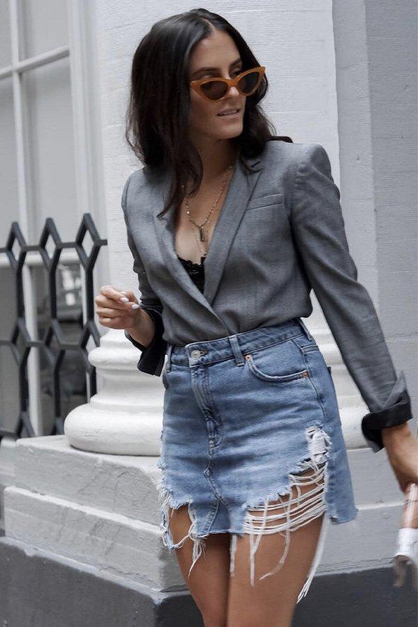 Sarah Wisted - saia jeans - saia jeans - verão - street style