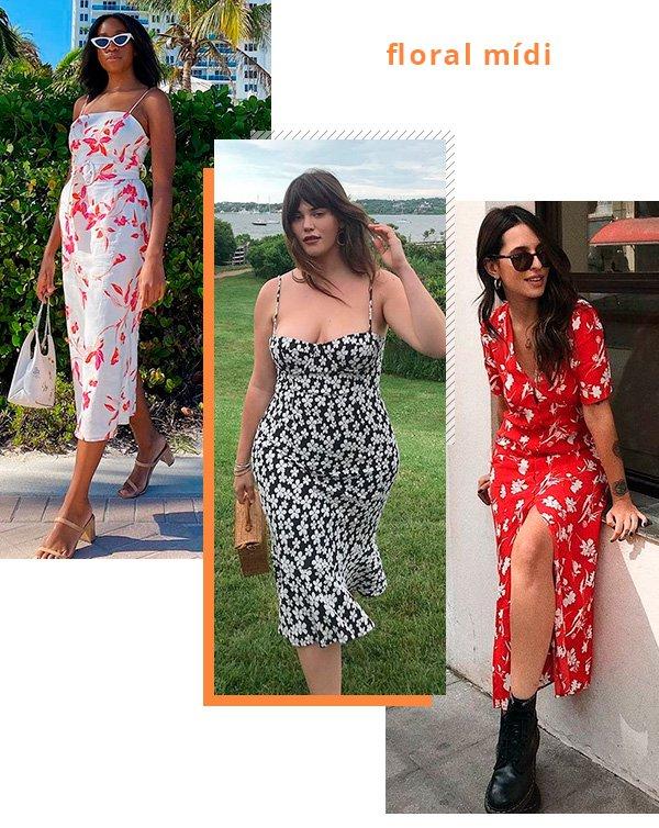 vestido - floral - midi - look - moda