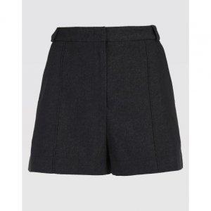 Shorts Algodão Com Pesponto Contrastante