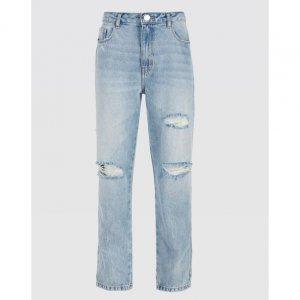 Calça Jeans Reta Com Rasgos