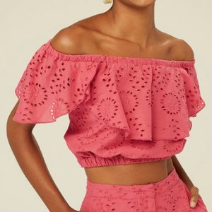 Blusa Cropped Ombro A Ombro Em Laise