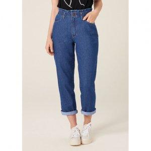 Calça Mom Jeans Com Elástico No Cós