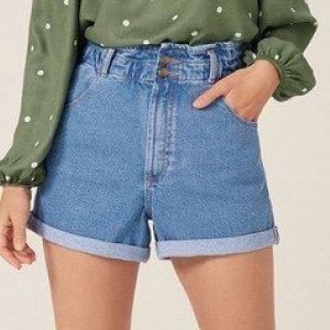 Shorts Jeans Clochard Stone Com Elástico Na Cintura