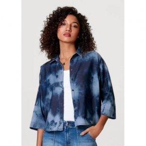 Camisa Jeans Feminina Manga 7/8 Com Lavanderia Tie-Dye