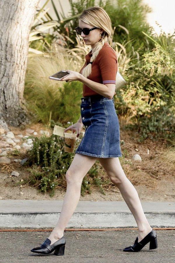 Emma Roberts - loafers - mocassim de salto - verão - street style