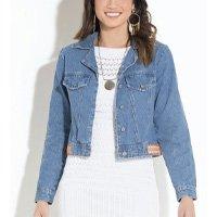 Quintess - Jaqueta Jeans Quintess com Franjas nas Costas