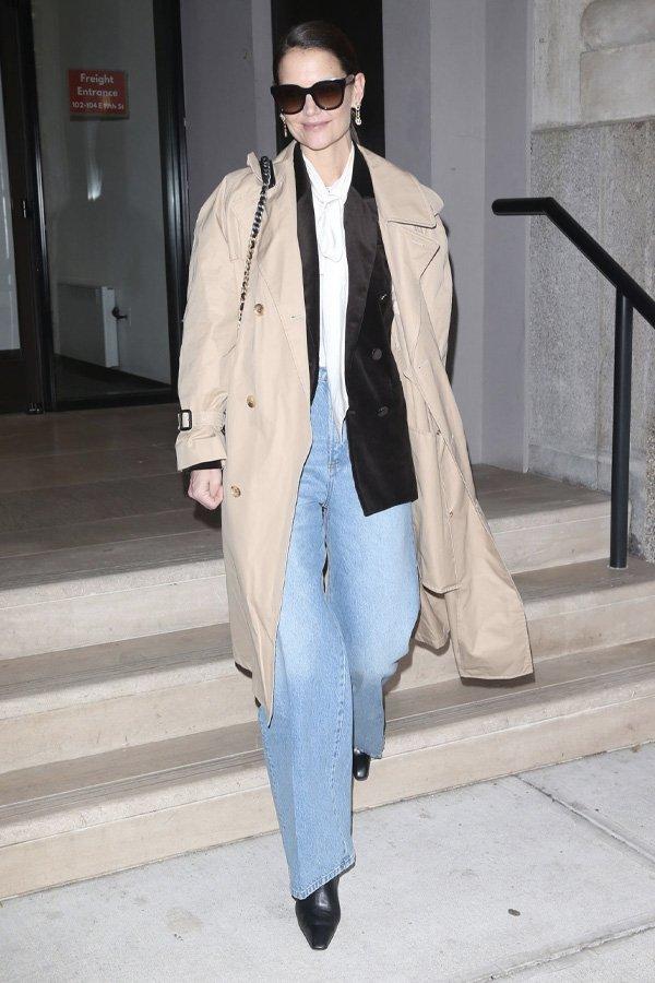 Katie Holmes - casaco - trench coat - verão - street style
