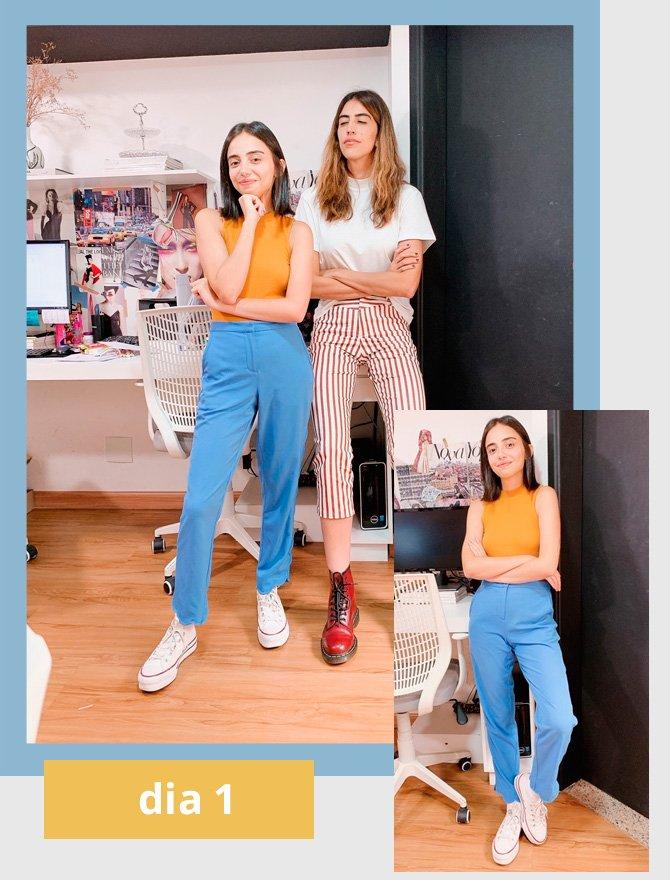 Giovana Marçon, Thai Bufrem - calca-azul - colorblocking - verão - street-style