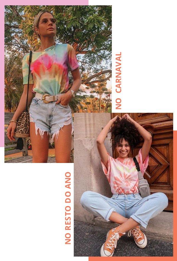 Thássia Naves, Syana Laniyan - tie dye - carnaval - verão - street style