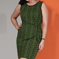 Vestido Geométrico Verde com Amarração