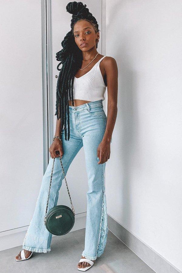 Yasmim Estevam - flare jeans - jeans - verão - street style