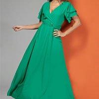 Quintess - Vestido Longo Verde com Cinto