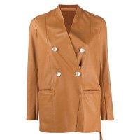 Jaqueta de couro com abotoamento duplo