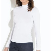 Quintess - Blusa Gola Alta Mangas Longas Branca Quintess