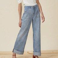 Calça Jeans Wide Bolsos Frente