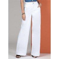 Quintess - Calça Jeans Branca Abertura em Botão e Zíper