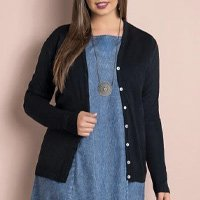 Quintess - Cardigan de Tricô Preto Plus Size