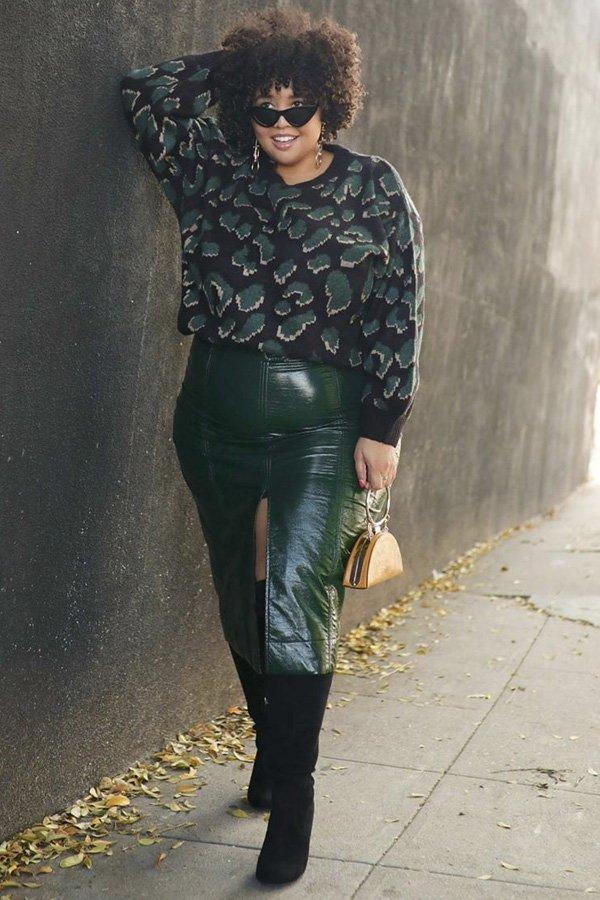 Gabi - saia midi - saia de couro - inverno - street style