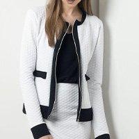 Quintess - Casaqueto Bicolor Branco e Preto Quintess