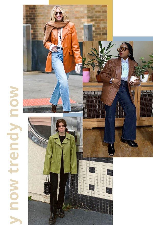 Lisa Aiken, Ada Oguntodu, Reese Blutstein - trendy now - blazer de couro - inverno - street style
