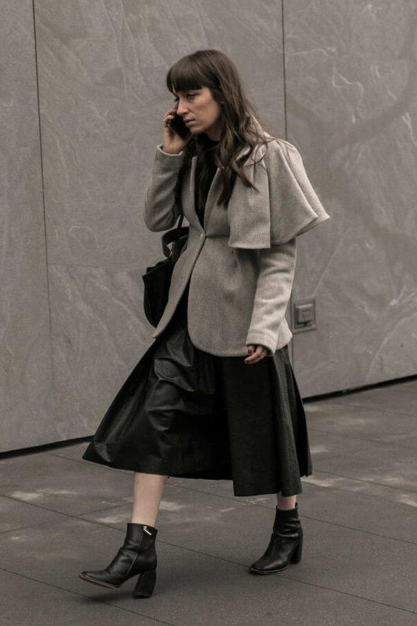 reprodução pinterest - saia midi - saia de couro - inverno - street style