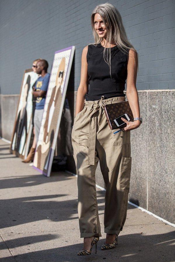 reprodução pinterest - calça chic - calça cargo - inverno - street style