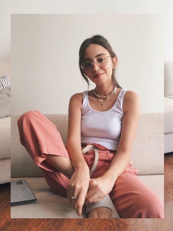 Giovana Marçon - calca-cargo-rosa - home office - outono - home office