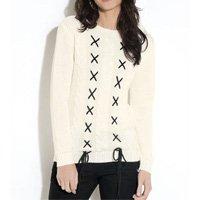 Quintess - Suéter em Tricô Off White Quintess com Trançado