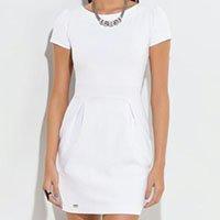 Quintess - Vestido Curto com Detalhe de Pregas Branco
