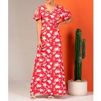 Vestido Longo Floral Vermelho com Babado