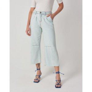 Calça Jeans Wide Leg Com Pregas