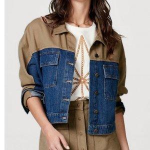 Jaqueta Jeans Feminina Cropped Com Detalhes Em Sarja