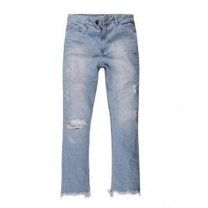 Calça Feminina Jeans Barra Desfiada E Rasgos