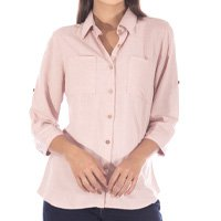 Camisa Sisal Jeans Manga 3/4 Linho Rosê