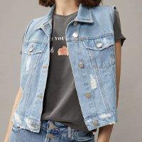 Colete Jeans Com Leves Puídos