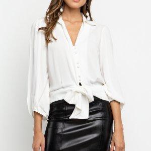 Camisa Botões Amarração Off White