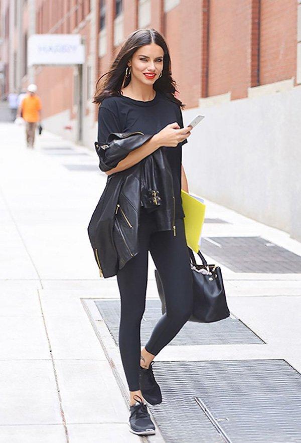 Adriana Lima - legging - legging - outono - street-style
