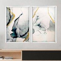 Quadro com Moldura Chanfrada Abstrato Branco - Médio