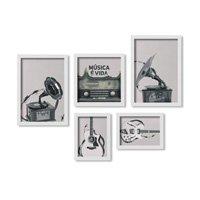 Kit 5 Quadros Los Quadros Decorativos Grande Música é Vida Com Moldura Branca e Vidro