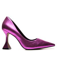 Scarpin Couro Carrano Metalizado Pink